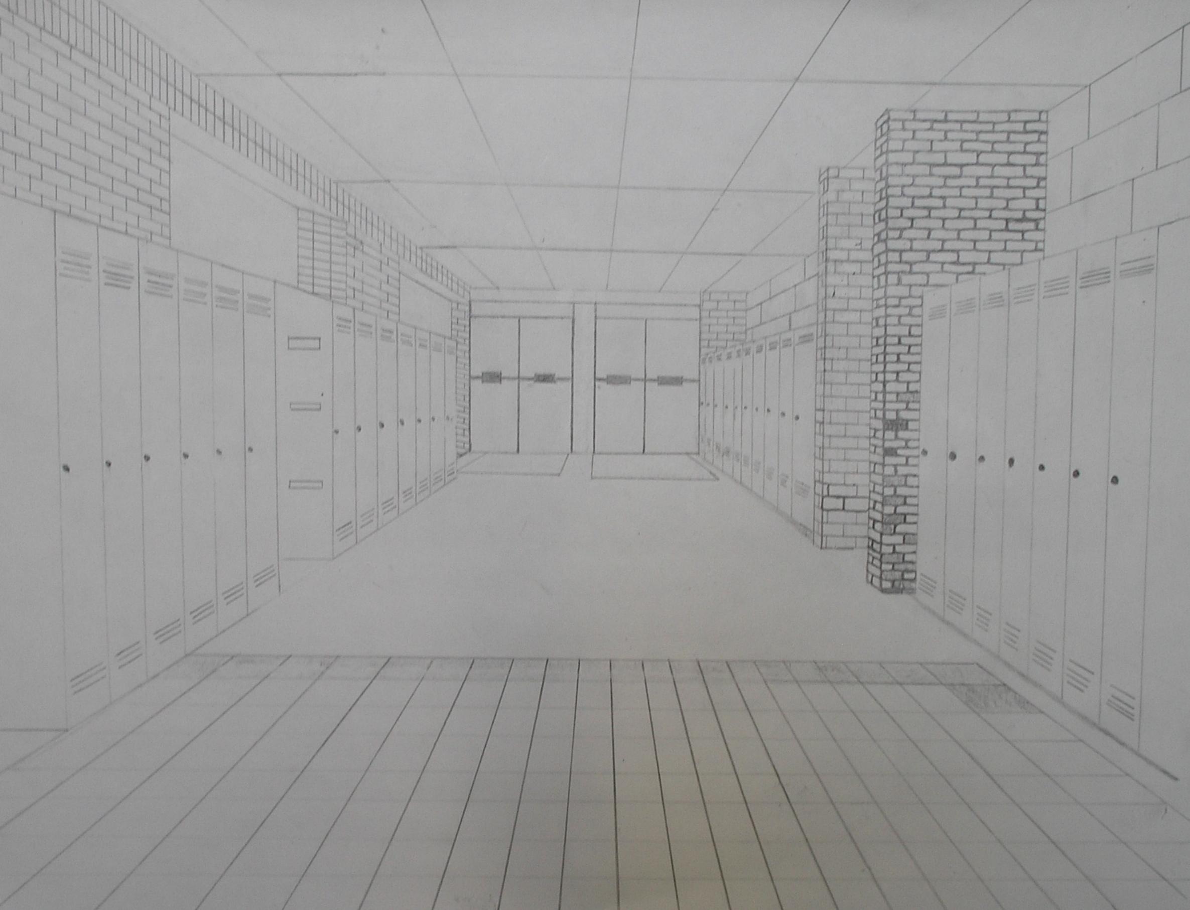 school hallway drawing - HD2371×1813